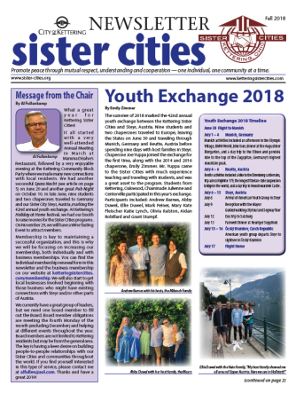 Sister Cities Newsletter Cover Fall 2018