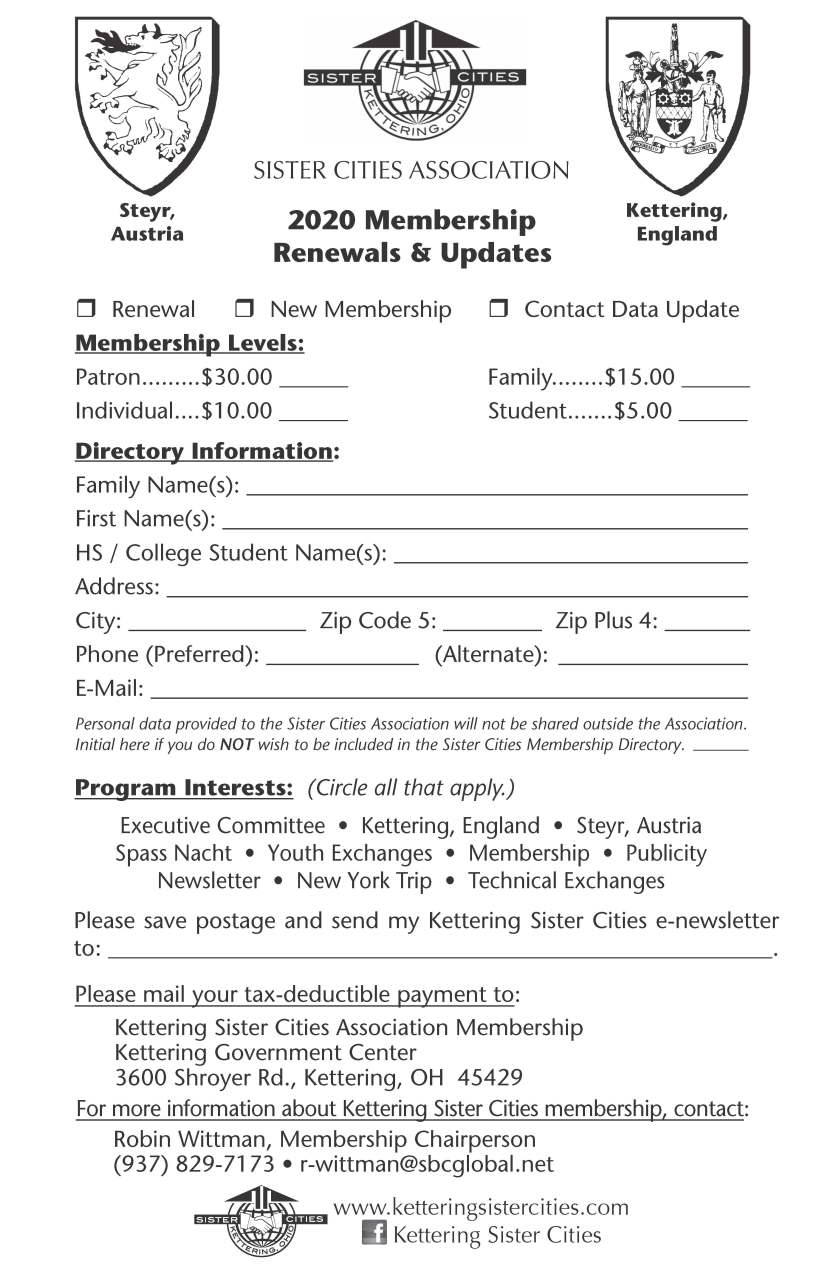 Membership Renewal Form 2020